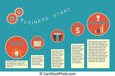 business, infographics, début, templat