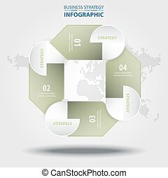 Business Infographics design elements green grey color tone