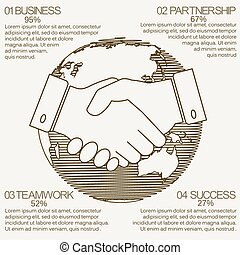 business infographics handshake
