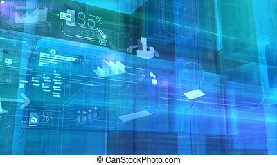 Business infographics in virtual space - Video background...