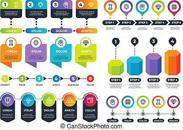 Business infographics. Info graphs, timeline and abstract circular charts with marketing icons. Vector set