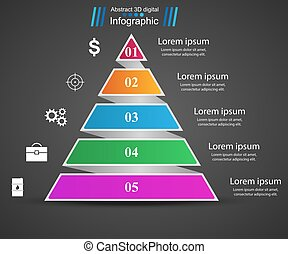 Business Infographics origami style Pyramid illustration.