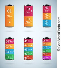 Business Infographics origami style Vector illustration. Battery