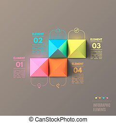 Business Infographics pyramid concept. Top view 3d vector illustration.