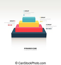 Business Infographics pyramid cube 4 color