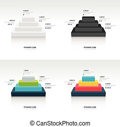 Business Infographics pyramid cube set