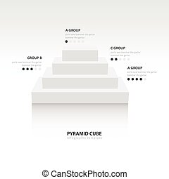 Business Infographics pyramid cube white color balance