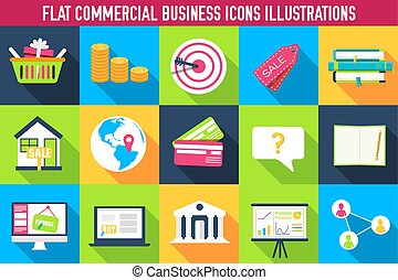 Business infographics template concept. Icons design for your product or design, web and mobile applications. Vector flat with long shadow illustration on  background.