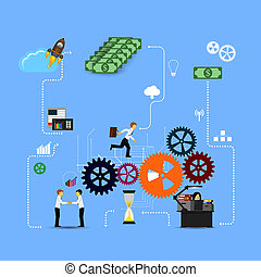 Business infographics template. Scheme with humans, icons and gears