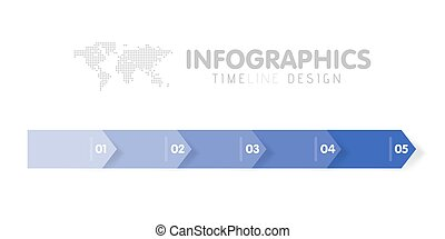 Business infographics template. Timeline with 5 arrow steps, five number options. Vector