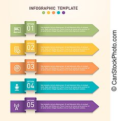 Business infographics template with five different options represented by arrows