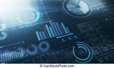 Business Information Digital Display With Stock Market Charts Reflective Surface. Financial Figures, Graphs and Diagrams Growing. Technology Concept Backdrop Useful for Presentations 4k UHD 3840x2160.