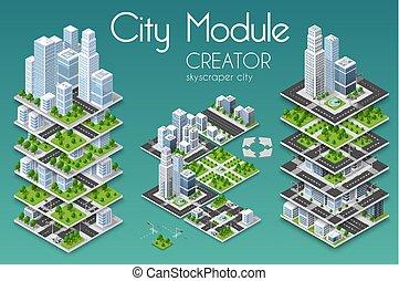 business, infrastructure, urbain, ville, isométrique, concept