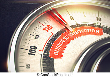 Shiny Metal Speedmeter with Red Punchline Reach the Business Innovation. Illustration with Depth of Field Effect. 3D.
