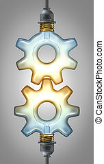 Business innovation partnership concept for new ideas with two illuminated glass light bulbs in the shape of a gear or cog connected together as a collaboration team working for innovative creative success.