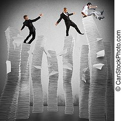 Business instability - Business men of unstable piles of...