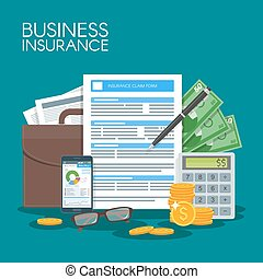 Business insurance concept vector illustration. Sign...