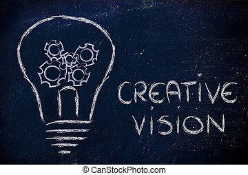 business, intérieur, créatif, vision, gearwheels, lightbulb