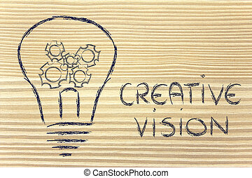 business, intérieur, gearwheels, lightbulb, vision