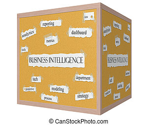 Business Intelligence 3D cube Corkboard Word Concept with great terms such as dashboard, metrics, data and more.