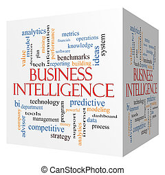 Business Intelligence 3D cube Word Cloud Concept with great...