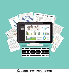 Business intelligence dashboard application. Data visualization on desktop screen.