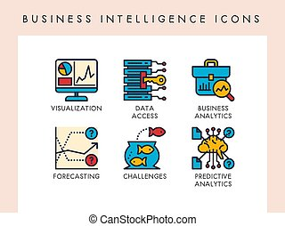 Business intelligence icons - Business intelligence concept ...