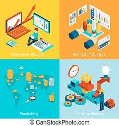 Business intelligence information analytics, fundraising and creative thinking