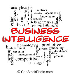 Business Intelligence Word Cloud Concept in red caps