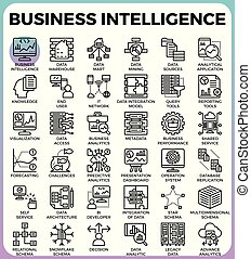 Business intelligence(BI) concept icons - Business...