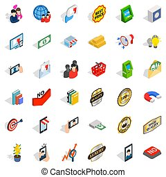 Business interaction icons set, isometric style