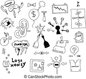 Vector doodle collection of hand drawn illustration of business conflict and problem issues and finding solution for contract deal. Isolated on white background