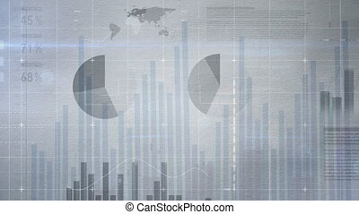 Business interface with numerous charts and graphs