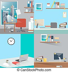 Business Interior Set. Office Work Place with Computer and Paper Documents. Vector Background