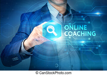 Business, internet, technology concept. Businessman chooses Online Coaching button on a touch screen interface.