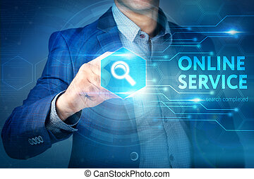 Business, internet, technology concept. Businessman chooses Online Service button on a touch screen interface.