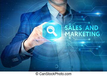 Business, internet, technology concept.Businessman chooses...