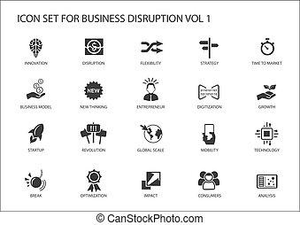 business, interruption, numérique, ensemble, icône