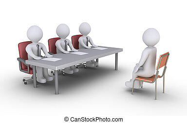 Business interview - Businessmen sitting behind a desk and a...