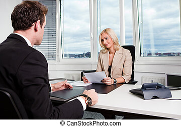 Business Interview - Two businesspeople at an interview in...