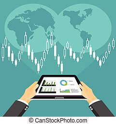 Business investment concept. Business broker analyzing stock market on the digital tablet.
