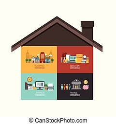Business investment concept infographic building house icons flat design,vector illustration