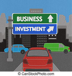 Business investment highway sign concept with stitch style on fabric background