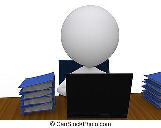 business, isolé, -, homme, occupé, sien, bureau, tas, travail, 3d