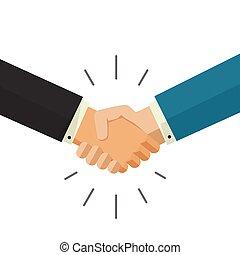 business, isolé, illustration, vecteur, fond, mains, blanc, secousse