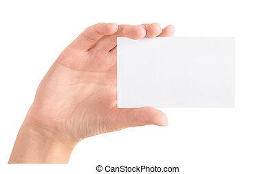 business, isolé, possession main, vide, carte