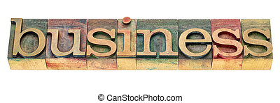 business isolated word in wood type