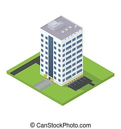 Business isometric building.