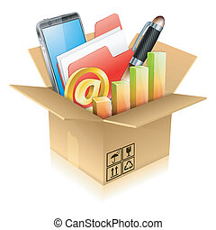 Business Items - Business Concept - Open Cardboard Box with...
