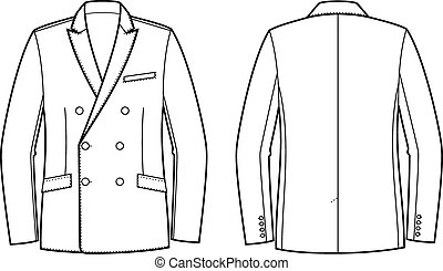 Business jacket - Vector illustration of double-breasted...